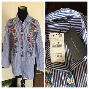 Zara Embroidered Floral Button Down - New with tag